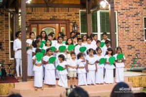 A group of children sings Vesak Hymns Saturday evening